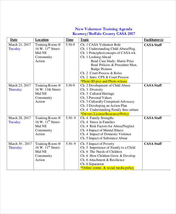 new volunteer training agenda