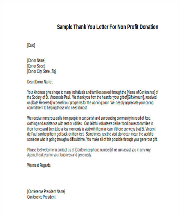 non profit donation thank you letter