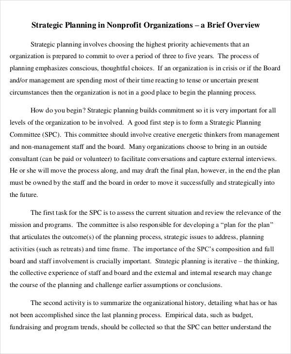 non profit organization strategic plan