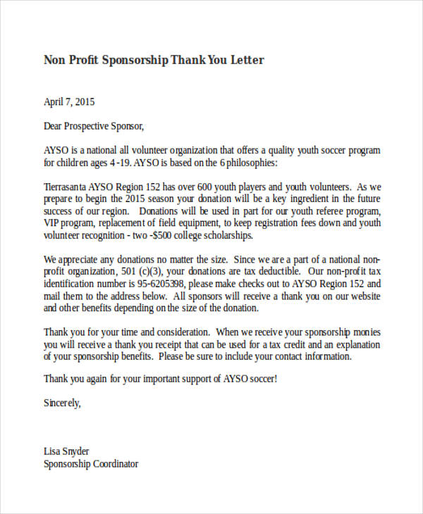 Non Profit Sponsorship Thank You Letter