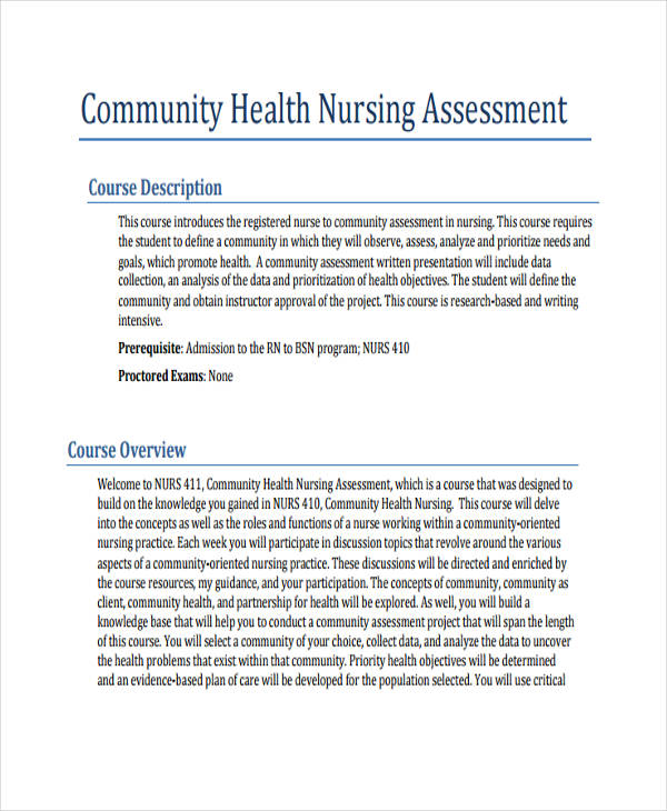 community health nursing assessment A community needs assessment is a vital process in the planning and promotion of health strategies and care in the community, and this process.
