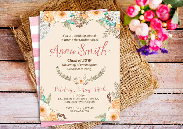 Examples Of Graduation Invitation Design PSD AI Vector EPS - Sample graduation party invitation