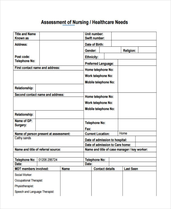 nursing health care assessment