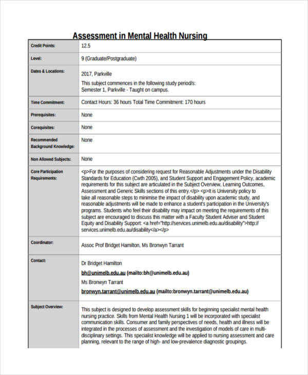 nursing mental health assessment