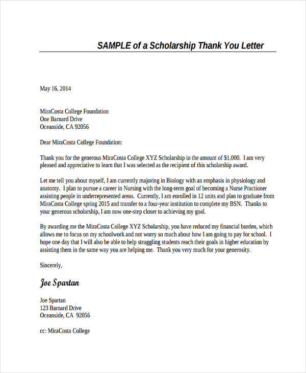 Nursing Scholarship Thank You Letter  Thank You Letters