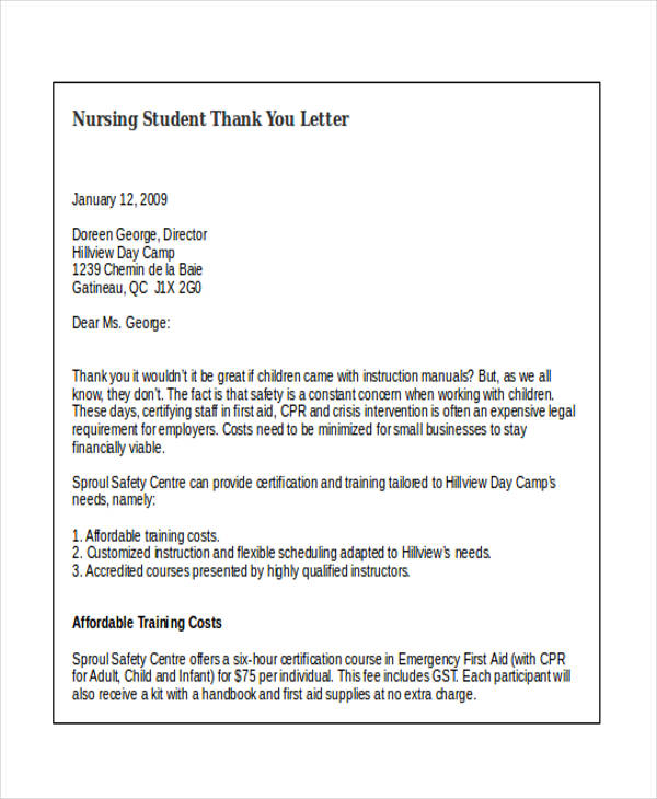 nursing student thank you letter