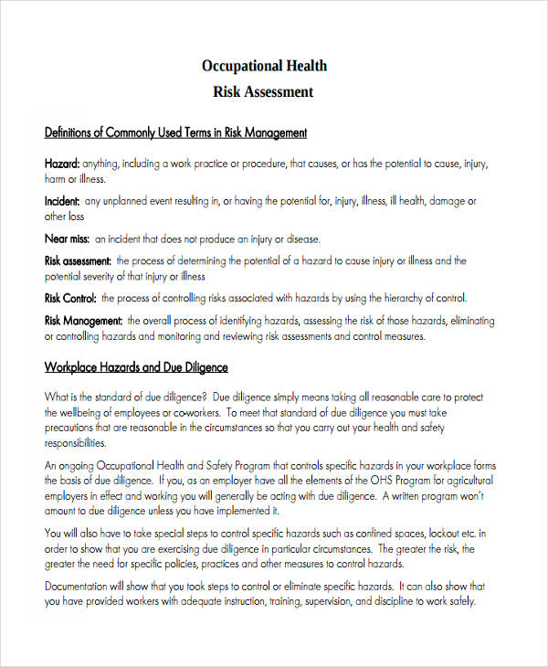 occupational health risk assessment