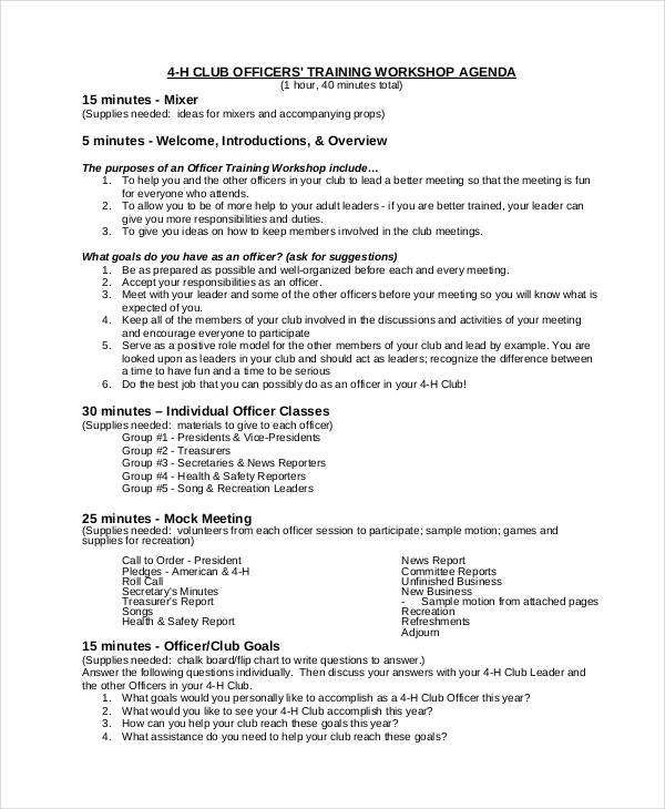 Training Agenda Sample  Resume Template Sample