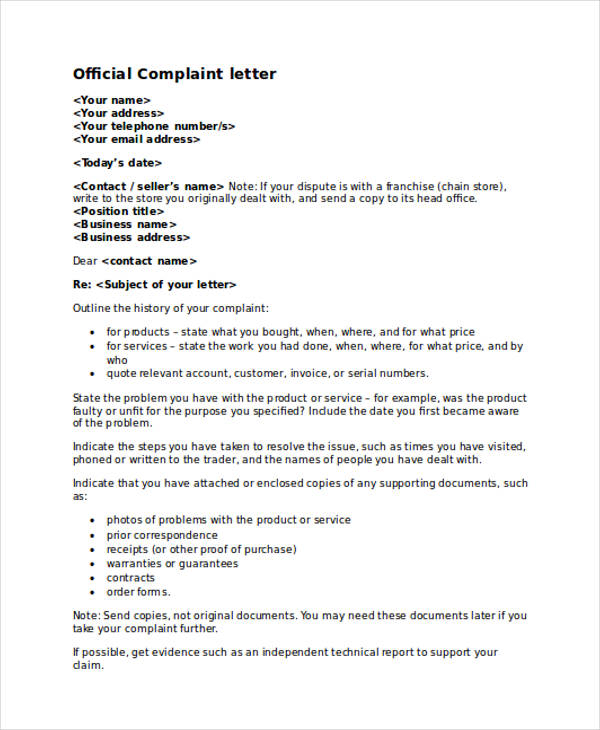 complaint letter samples official business complaint letter
