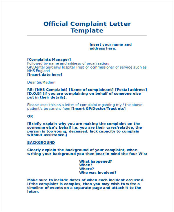 letter of complaints samples