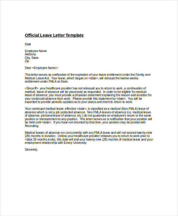 official leave letter