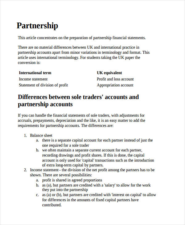 partnership business income statement