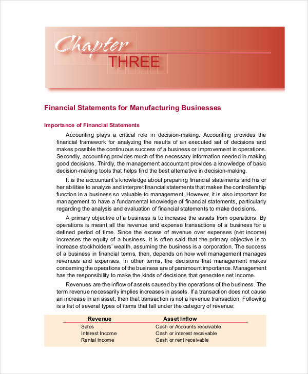 partnership manufacturing financial statement