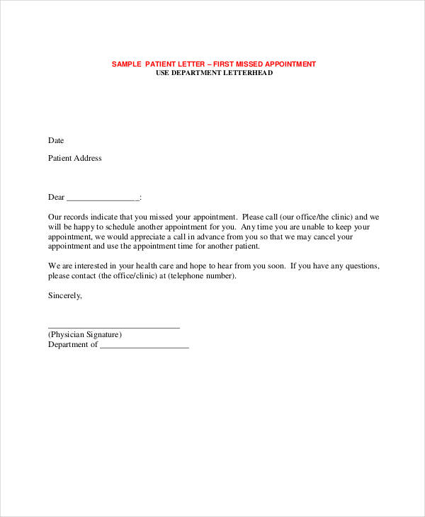 49 appointment letter examples samples patient missed appointment letter thecheapjerseys Images