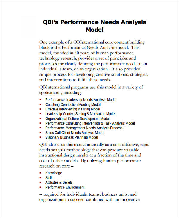 performance consulting needs analysis
