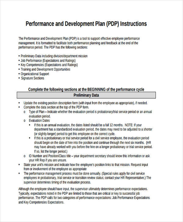 Performance Development Plan Sample  Pdp Plan Example