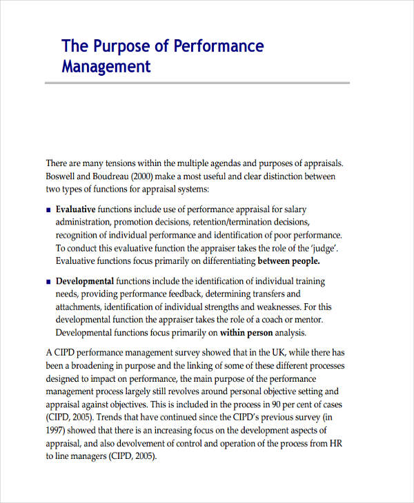 performance management needs analysis