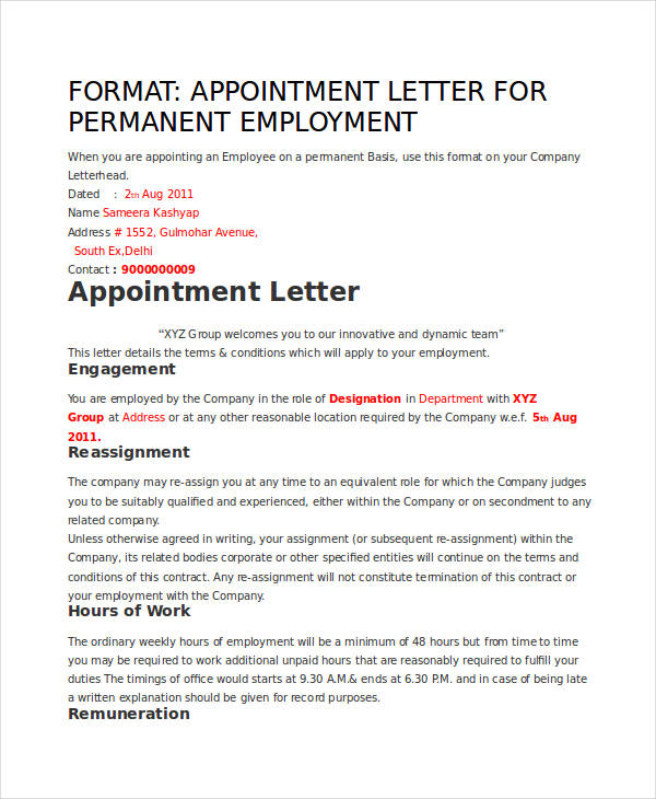 permanent employee appointment letter