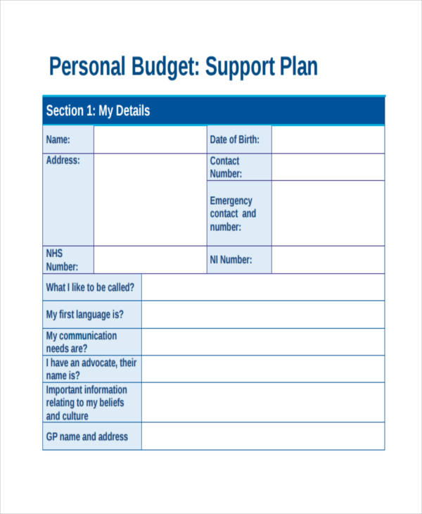 personal budget support plan