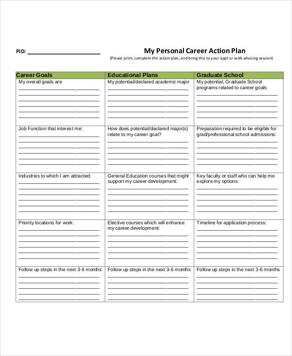 personal career action plan