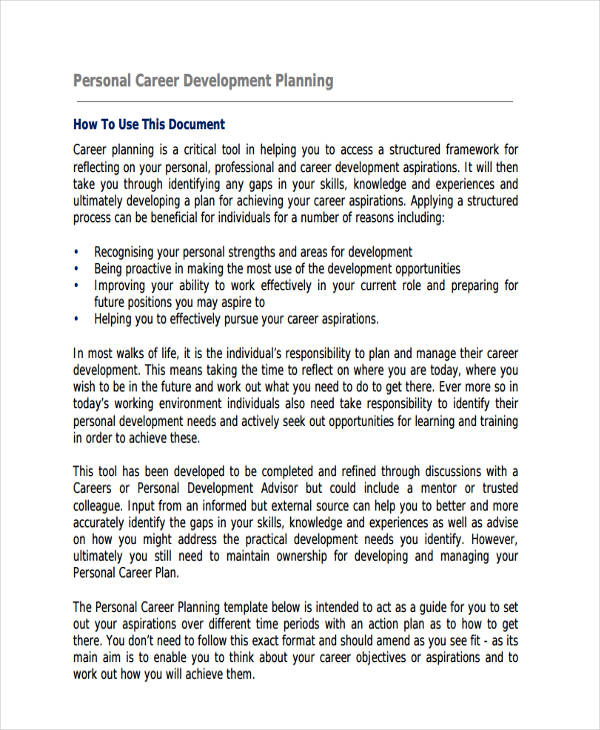 Personal Career Development Plan  Personal Development Portfolio Example