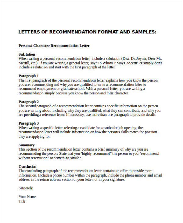 personal character recommendation letter - Job Recommendation Letter Format How To Write A Recommendation Letter