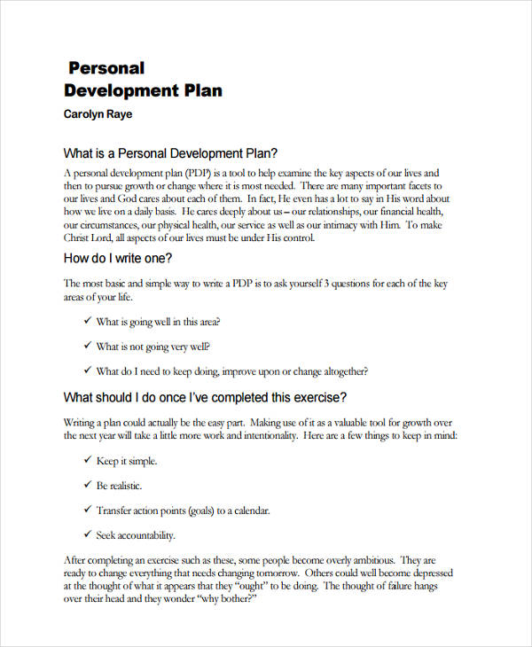 personal development growth plan