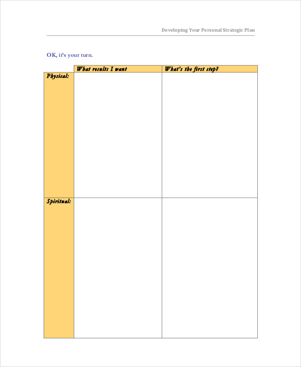 personal development strategic plan