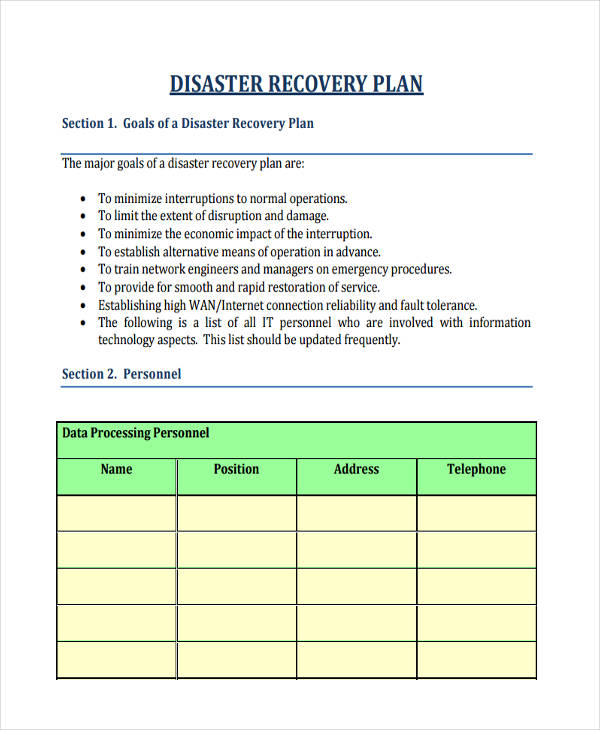 personal disaster recovery plan