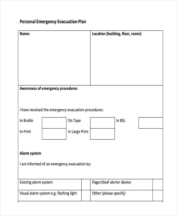 personal emergency evacuation plan