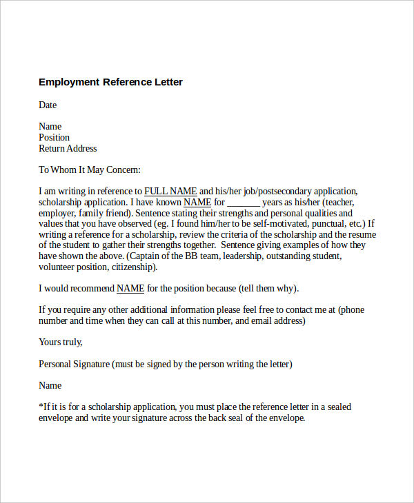personal employment reference letter