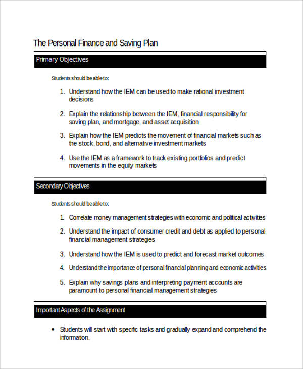 personal finance savings plan