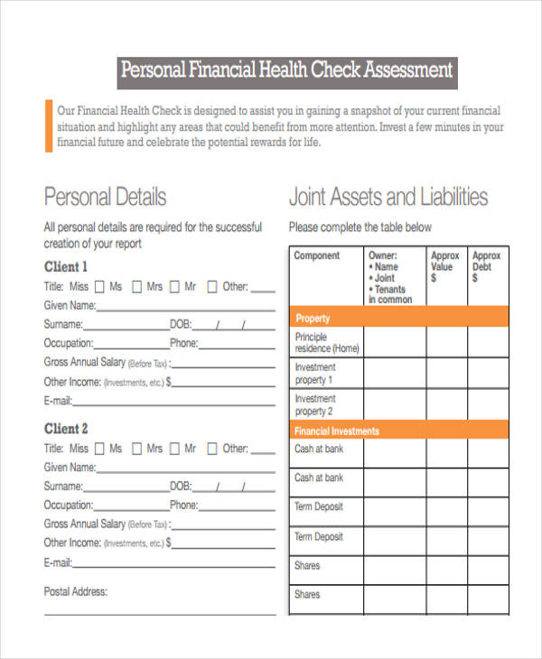 personal financial health assessment