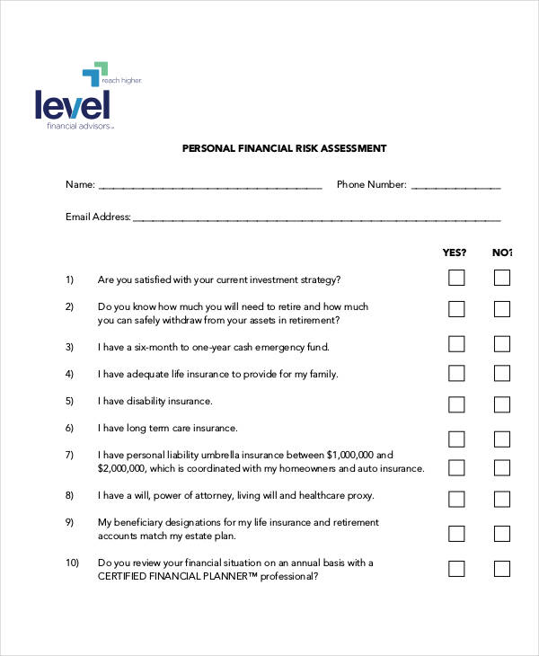 40 risk assessment examples samples for Financial assessment template