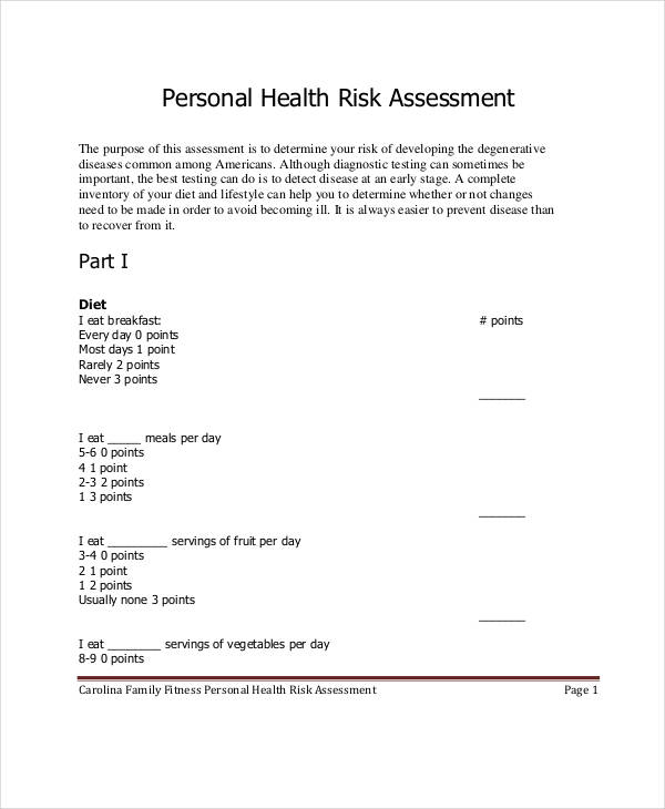 Risk Assessment Examples  Samples