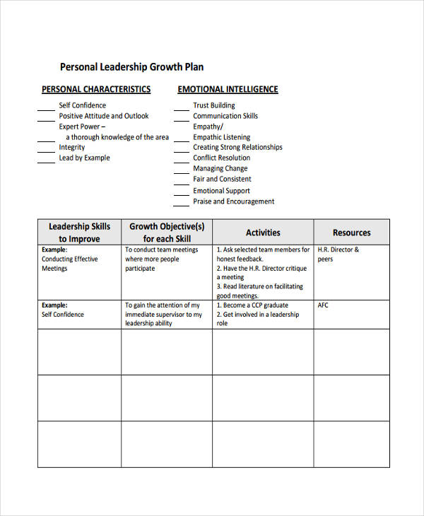personal leadership growth plan