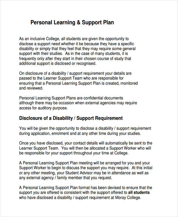 personal learning support plan
