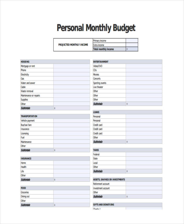 personal monthly income