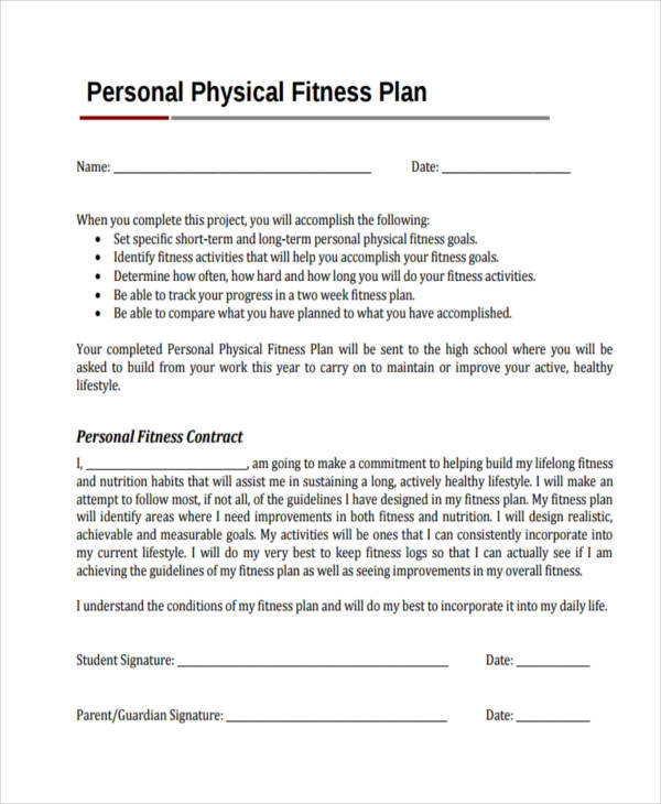 personal physical fitness plan