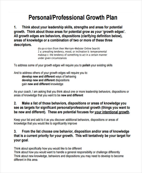 personal professional growth plan