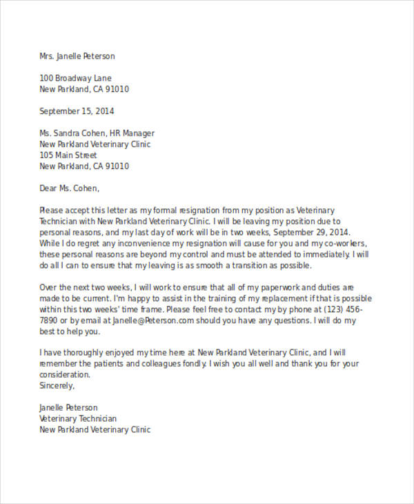 Personal Reason Resignation Letter