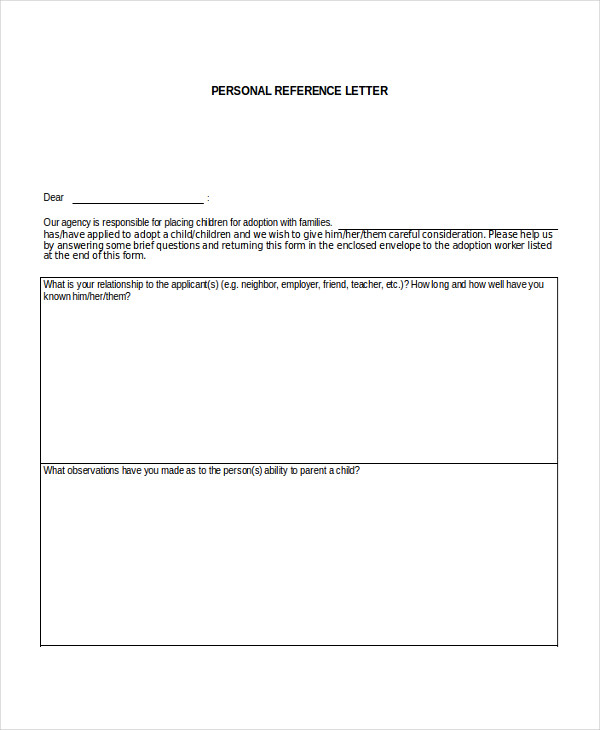 personal reference letter for family member