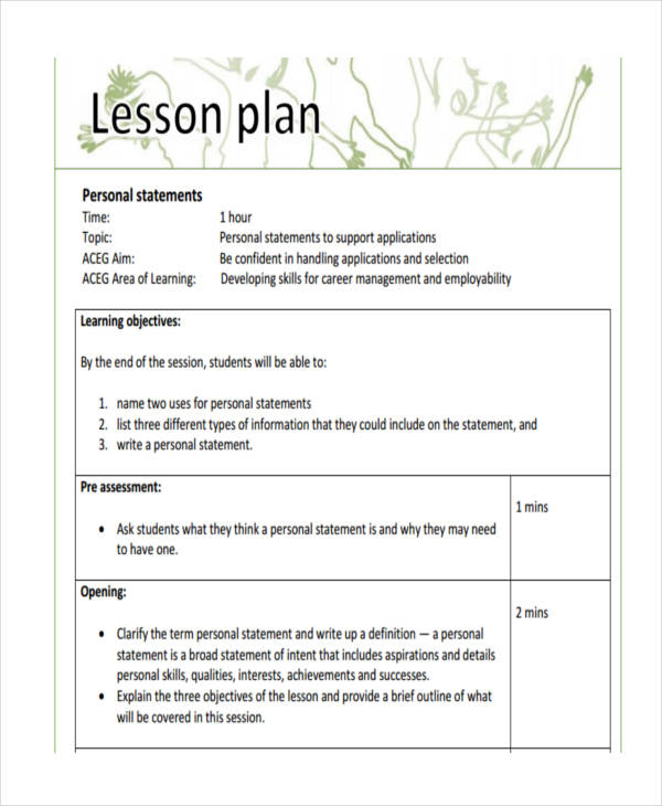 personal statement lesson plan