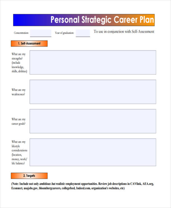 personal strategic career plan