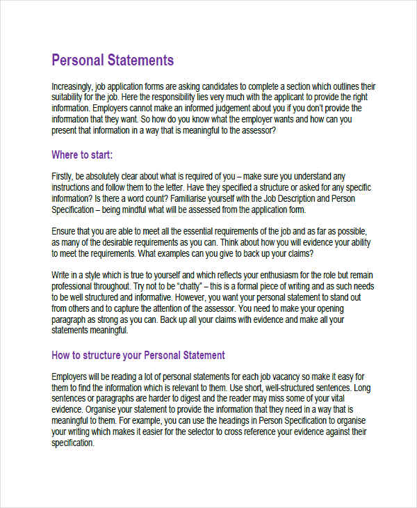 Job application personal statement