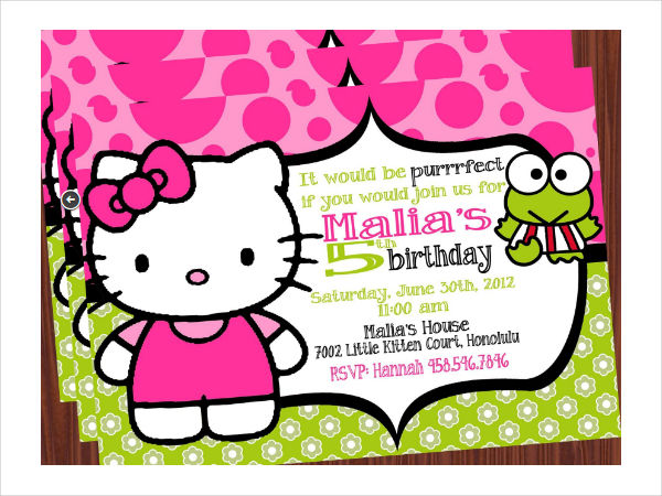 personalized hello kitty birthday invitation