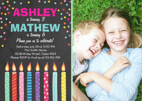 personalized twin birthday invitation