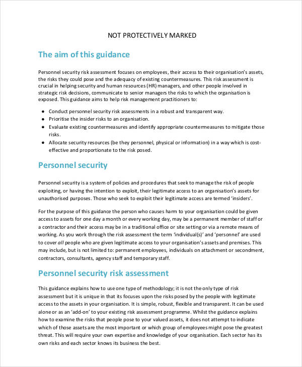 personnel security risk assessment