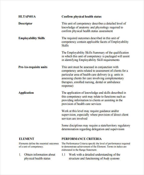 physical health status assessment