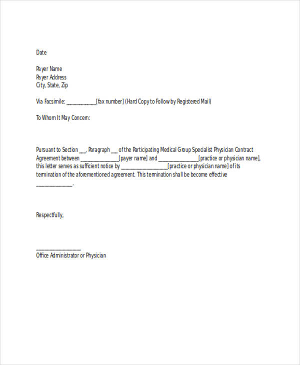 Physician Contract Termination Letter